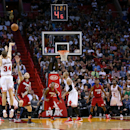 MIAMI, FL - DECEMBER 14: Mike Dunleavy #34 of the Chicago Bulls shoots over Chris Andersen #11 of the Miami Heat during a game at American Airlines Arena on December 14, 2014 in Miami, Florida. (Photo by Mike Ehrmann/Getty Images)