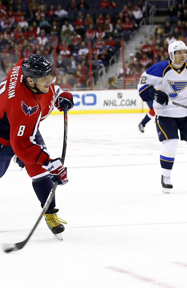 Ovechkin gets 2 to tie Steen; Caps top Blues 4-1