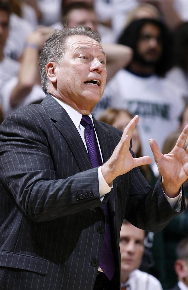 Michigan State coach Tom Izzo gives instructions during the second half of an NCAA college basketball exhibition game against IUP, Monday, Nov. 4, 2013, in East Lansing, Mich. Michigan State won 83-45