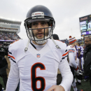 Chicago Bears quarterback Jay Cutler walks off the field after an NFL football game against the Minnesota Vikings, Sunday, Dec. 28, 2014, in Minneapolis. The Vikings won 13-9. (AP Photo/Ann Heisenfelt)
