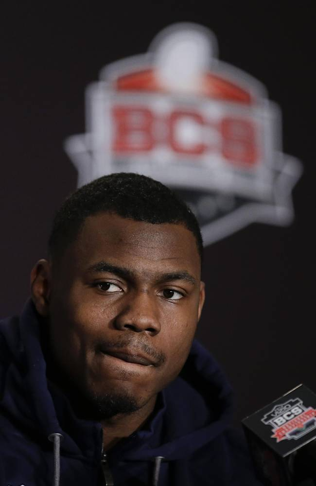 Auburn defensive back Jermaine Whitehead listens to during a news conference Friday, Jan. 3, 2014, in Newport Beach, Calif. Auburn is scheduled to play Florida State on Monday, Jan. 6,  in the BCS national championship NCAA college football game