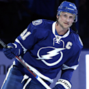 Tampa Bay Lightning center Steven Stamkos (91) is introduced as the new caption of the Lightning before an NHL hockey game against the Buffalo Sabres Thursday, March 6, 2014, in Tampa, Fla The Associated Press