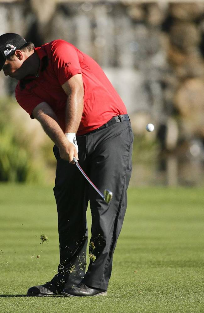Patrick Reed hits to the 18th green during the second round of the Humana Challenge golf tournament at La Quinta Country Club on Friday, Jan. 17, 2014, in La Quinta, Calif