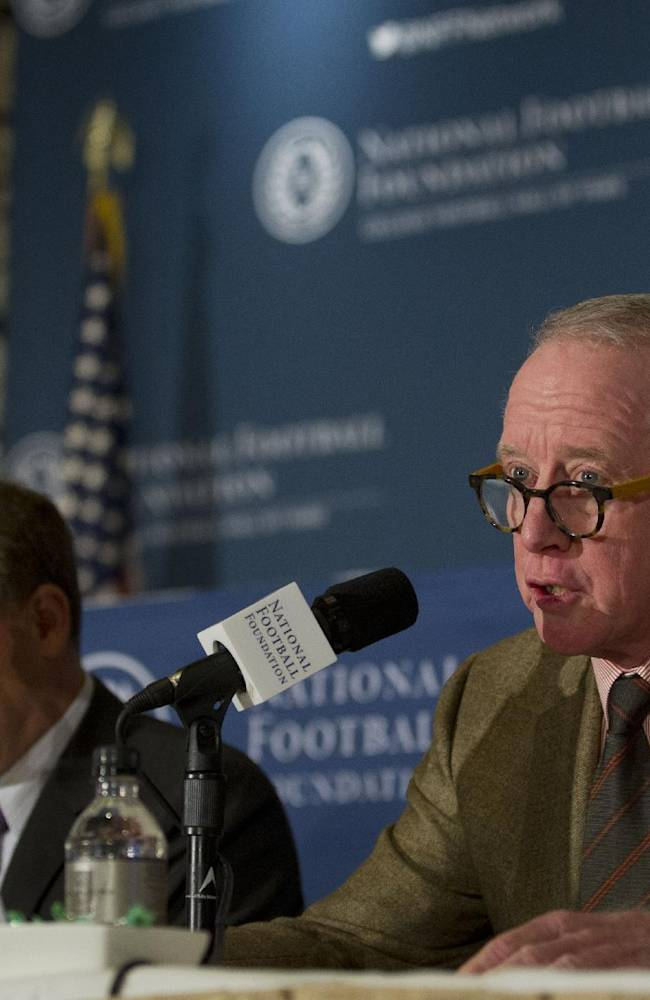 Liberty Mutual Insurance spokesperson Glenn Greenberg, left, and National Football Foundation chairman Archie Manning announce the finalist for College Coach of the Year during the 56th National Football Foundation Annual Awards ceremonies on Tuesday, Dec. 10, 2013 in New York