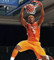 Tennessee's Jarnell Stokes dunks the ball during the first half of an NCAA college basketball game against Wake Forest in Paradise Island, Bahamas, Saturday, Nov. 30, 2013. (AP Photo/Bahamas Visual Services, Tim Aylen)