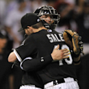 Chicago White Sox starting pitcher Chris Sale (49), celebrates with catcher Tyler Flowers (21), after defeating the Toronto Blue Jays 4-2 in a baseball game Monday, July 6, 2015 in Chicago. (AP Photo/Paul Beaty)