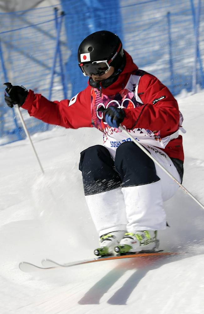 Japan's Sho Endo runs the course during freestyle skiing moguls training at the Rosa Khutor Extreme Park  ahead of the 2014 Winter Olympics, Friday, Feb. 7, 2014, in Krasnaya Polyana, Russia
