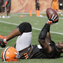 Cleveland Browns wide receiver Nate Burleson takes a break during practice at the NFL football team's training camp in Berea, Ohio, Sunday, July 27, 2014 The Associated Press