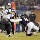 Chicago Bears defensive end Jared Allen (69) pressures New Orleans Saints quarterback Drew Brees (9) during the second half of an NFL football game Monday, Dec. 15, 2014, in Chicago The Associated Press