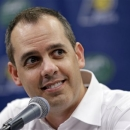 Indiana Pacers head coach Frank Vogel talks about the team's season during a season-ending press conference in Indianapolis, Wednesday, June 5, 2013. The NBA basketball team lost to the Miami Heat in the Eastern Conference Finals. (AP Photo/Michael Conroy)