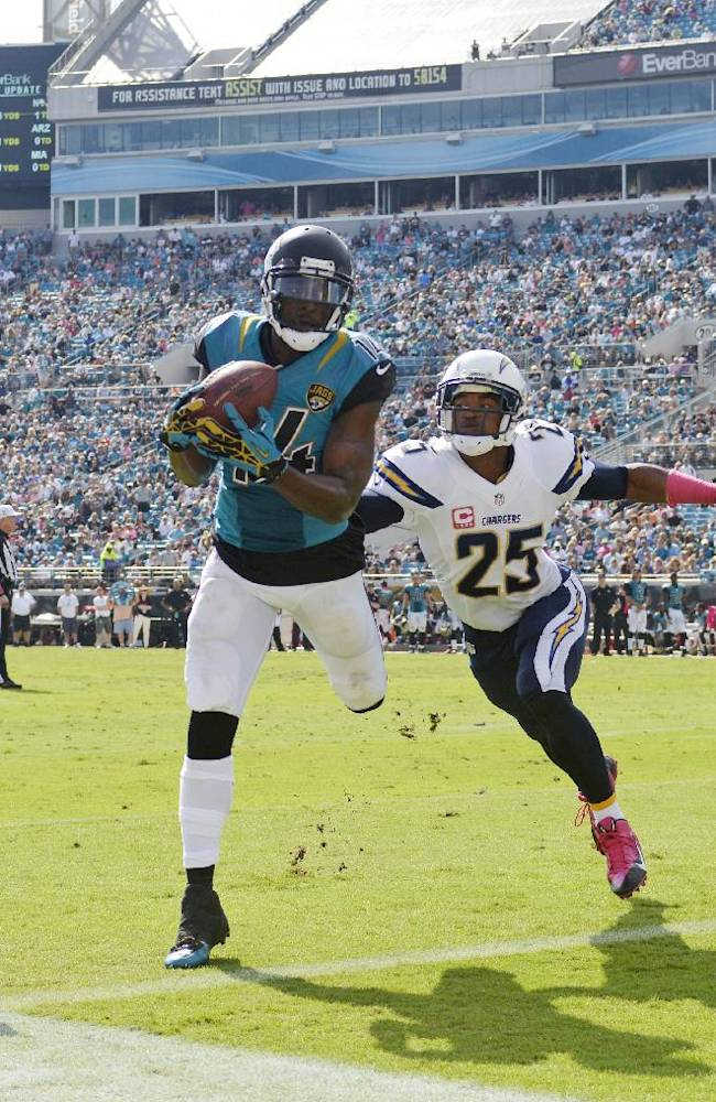 In this Oct. 20, 2013, file photo, Jacksonville Jaguars wide receiver Justin Blackmon, left, makes a catch but can't stay in bounds to score a touchdown as San Diego Chargers defensive back Darrell Stuckey defends during the second half of an NFL football game in Jacksonville, Fla. The Jaguars expect to be without their suspended receiver all season, maybe even longer. General manager Dave Caldwell said Friday, May 2, 2014, it would be