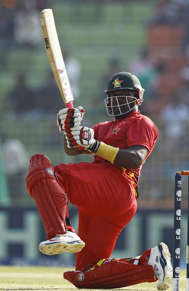 Zimbabwe's cricket player Hamilton Masakadza plays a shot during their ICC Twenty20 Cricket World Cup match against Ireland in Sylhet, Bangladesh, Monday, March 17, 2014