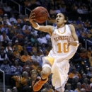 Tennessee guard Meighan Simmons (10) goes for a shot during the second half of an NCAA women's college basketball game against Missouri, Thursday, Jan. 10, 2013, in Knoxville, Tenn. Tennessee won 84-39. Simmons scored 18 points. (AP Photo/Wade Payne)