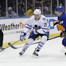 Toronto Maple Leafs' David Clarkson (71) protects the puck from New York Islanders' Thomas Hickey (14) during the first period of an NHL hockey game Thursday, Feb. 27, 2014, in Uniondale, N.Y The Associated Press