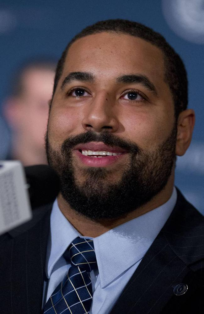 Penn State offensive guard  John Urschel speaks during a press conference at the Waldorf-Astoria, as part of the 2013 NFF National Scholar-Athlete Class at the 56th National Football Foundation Awards ceremonies on Tuesday, Dec. 10, 2013, in New York