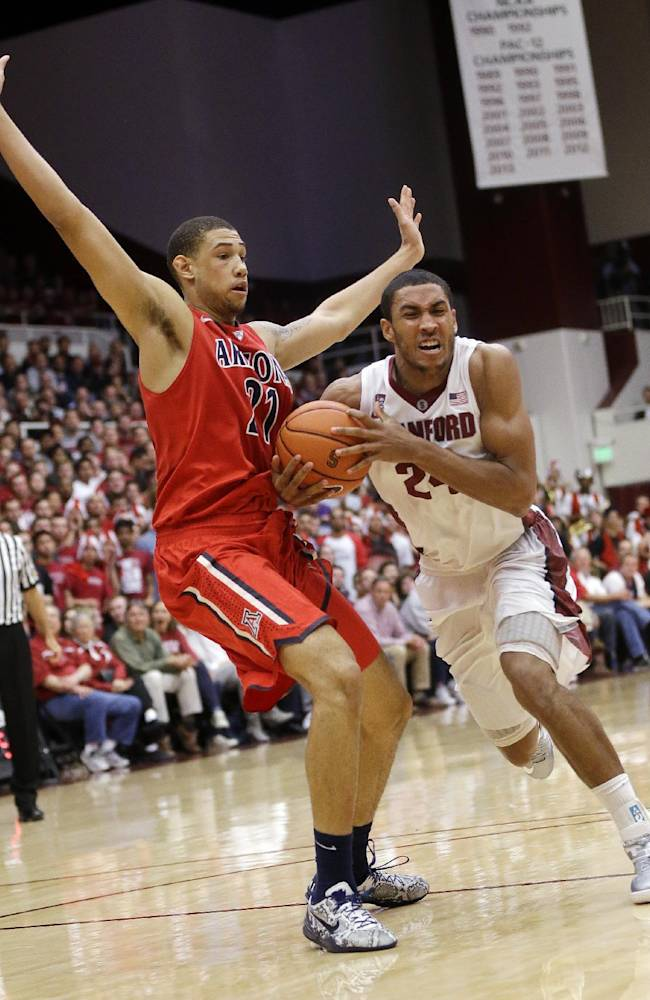 Stanford forward Josh Huestis, right, drives against Arizona forward Brandon Ashley during the second half of an NCAA college basketball game Wednesday, Jan. 29, 2014, in Stanford, Calif. Arizona won 60-57