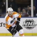 Philadelphia Flyers' Claude Giroux (28) skates during the third period in Game 7 of an NHL hockey first-round playoff series against the New York Rangers Wednesday, April 30, 2014, in New York. The Rangers won the game 2-1. (AP Photo)