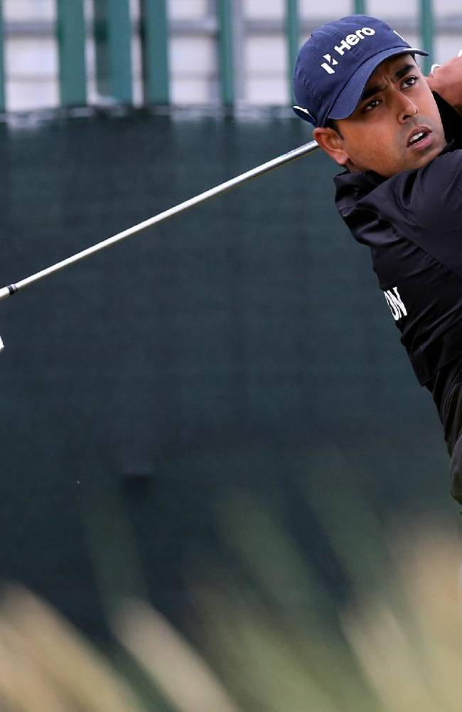 India's Anirban Lahiri tees off from the 13th during a practice round at Royal Liverpool Golf Club prior to the start of the British Open Golf Championship, in Hoylake, England, Monday, July 14, 2014. The 2014 British Open Championship starts on Thursday, July 17