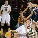 Central Michigan's Niki DiGuilio (24) crashes to the floor after losing the ball under pressure from Notre Dame's Kayla McBride (21) during the second half of an NCAA college basketball game on Thursday, Nov. 29, 2012, in Mount Pleasant, Mich. Notre Dame won 72-63. (AP Photo/Al Goldis)