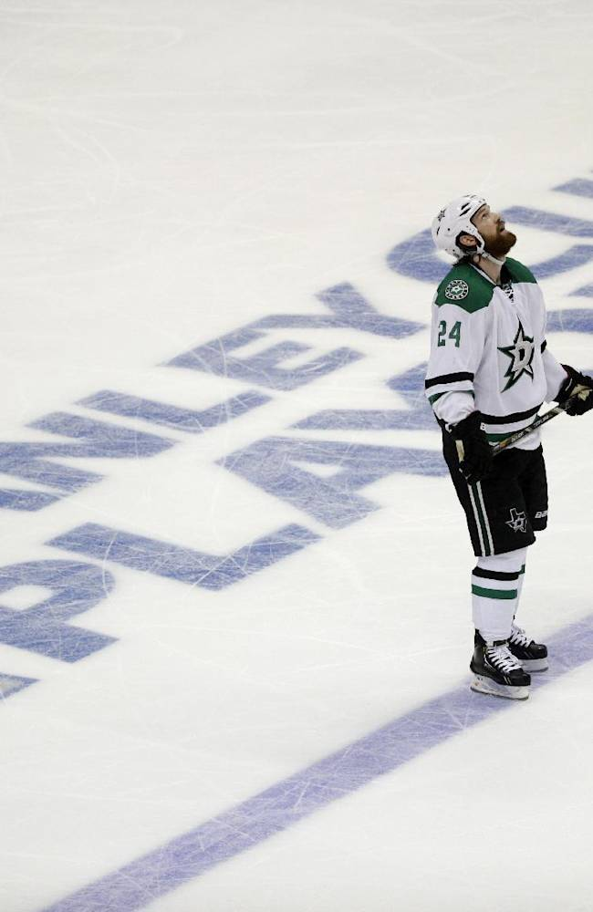 Dallas Stars' Jordie Benn looks at the scoreboard after Anaheim Ducks' Matt Beleskey scored during the second period in Game 1 of the first-round NHL hockey Stanley Cup playoff series on Wednesday, April 16, 2014, in Anaheim, Calif