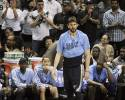 Memphis Grizzlies' Marc Gasol, center, of Spain, reacts to a San Antonio Spurs basket during the closing seconds of Game 1 of the Western Conference final NBA basketball playoff series, Sunday, May 19, 2013, in San Antonio. San Antonio won 105-83. (AP Photo/Darren Abate)