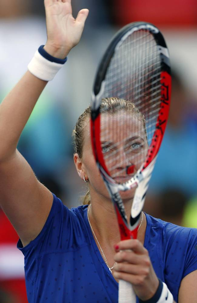 Petra Kvitova, of the Czech Republic, waves to the crowd after defeating Petra Cetkovska, of the Czech Republic, during the second round of the 2014 U.S. Open tennis tournament, Thursday, Aug. 28, 2014, in New York