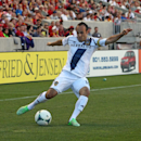 LA Galaxy's Landon Donovan shoots at the goal against Real Salt Lake in the first half during an MLS soccer game on Saturday, June 8, 2013, in Sandy, Utah. (AP Photo/Rick Bowmer)