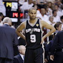 San Antonio Spurs point guard Tony Parker (9) walks on the court during as break against the Miami Heat during the first half of Game 6 of the NBA Finals basketball game, Tuesday, June 18, 2013 in Miami. (AP Photo/Lynne Sladky)
