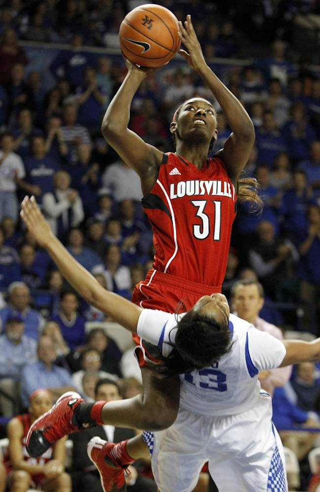 Louisville's Asia Taylor (31) is called for a charging foul against Kentucky's Bria Goss (13) during the second half of an NCAA college basketball game on Sunday, Dec. 1, 2013, in Lexington, Ky. Kentucky won 69-64