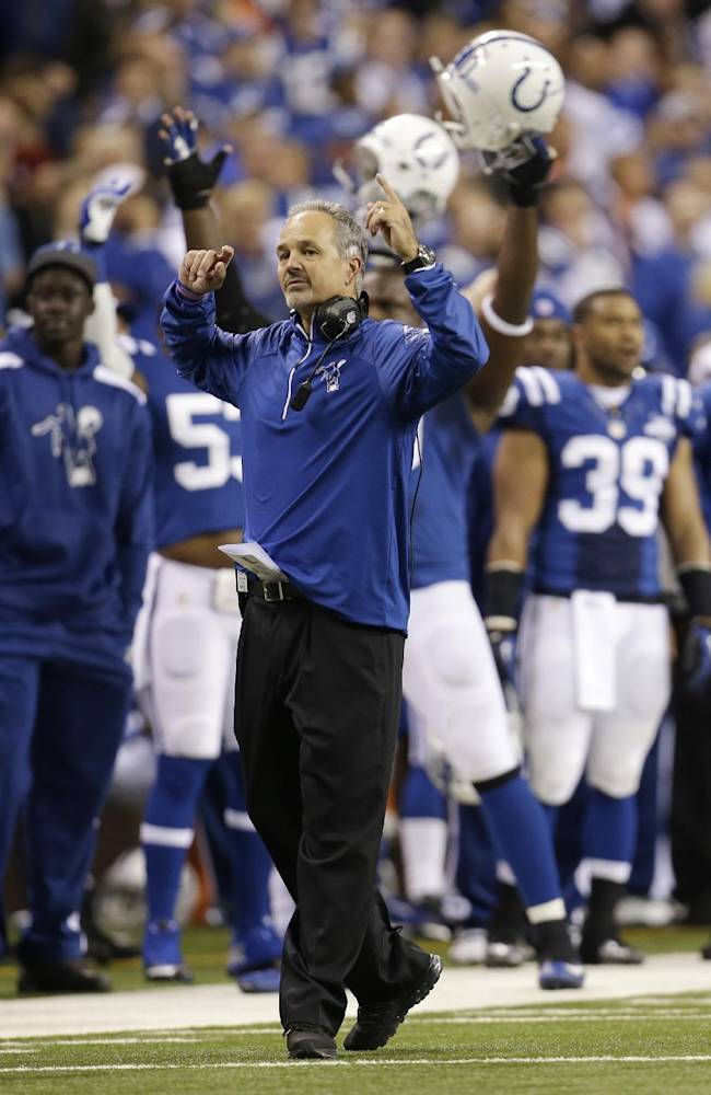 Indianapolis Colts head coach Chuck Pagano reacts after the officials ruled a safety on the play for the Colts during the first half of an NFL football game against the Denver Broncos, Sunday, Oct. 20, 2013, in Indianapolis