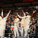 MIAMI, FL - APRIL 9: LeBron James #6 and the Miami Heat celebrate on the bench during the game against the Milwaukee Bucks on April 9, 2013 at American Airlines Arena in Miami, Florida. (Photo by Issac Baldizon/NBAE via Getty Images)