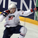 USA's Alex Galchenyuk  celebrates  after scoring his  team's fourth goal during the 2013 Ice Hockey IIHF World Championships Group B Quarterfinal match Russia vs USA in Helsinki, Finland on Thursday  May 16, 2013. (AP Photo/LEHTIKUVA / Martti Kainulainen) FINLAND OUT