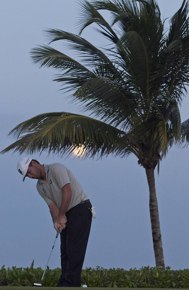 Matt Every, from the U.S., plays the ball on the 15th green during the third day of the OHL Classic at Mayacoba golf tournament in Quintana Roo, Mexico, Saturday, Nov. 16, 2013