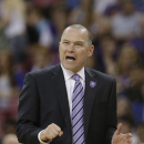 Sacramento Kings head coach Michael Malone reacts after a foul was called against the Kings during the fourth quarter of an NBA basketball game against the Phoenix Suns in Sacramento, Calif., Wednesday, April 16, 2014. The Suns won 104-99 The Associated