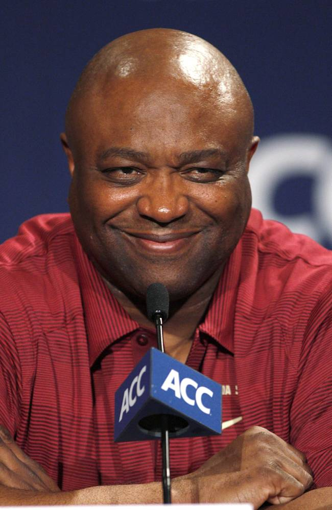 Florida State basketball coach Leonard Hamilton smiles during the Atlantic Coast Conference NCAA college media day in Charlotte, N.C., Wednesday, Oct. 16, 2013