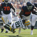 Green Bay Packers safety Ha Ha Clinton-Dix (21) tackles Chicago Bears running back Matt Forte (22) in the first half of an NFL football game Sunday, Sept. 28, 2014, in Chicago. The Associated Press