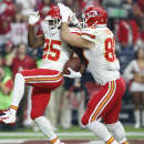 Kansas City Chiefs running back Jamaal Charles (25) celebrates his touchdown with teammate Anthony Fasano (80) during the first half of an NFL football game against the Arizona Cardinals, Sunday, Dec. 7, 2014, in Glendale, Ariz The Associated Press