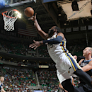 SALT LAKE CITY, UT - APRIL 12:  Al Jefferson #25 of the Utah Jazz shoots against the Minnesota Timberwolves at Energy Solutions Arena on April 12, 2013 in Salt Lake City, Utah. (Photo by Melissa Majchrzak/NBAE via Getty Images)