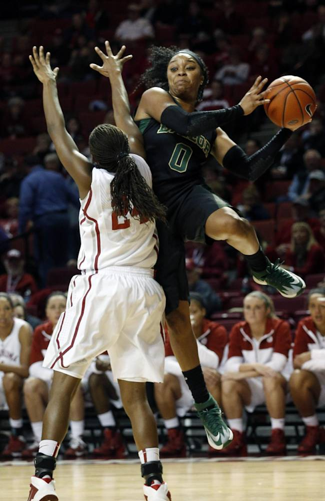 Baylor's Odyssey Sims (0) throws a ball past Oklahoma's Sharane Campbell (24) during the first half of an NCAA college basketball game in Norman, Okla., Feb. 3, 2014