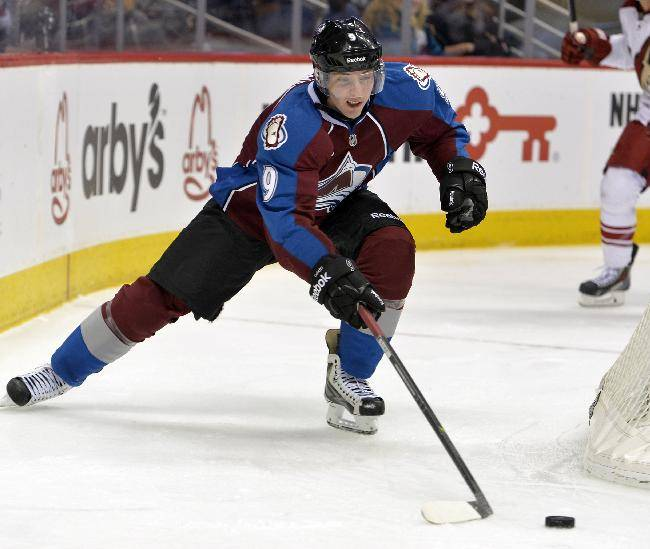 Colorado Avalanche center Matt Duchene skates against the Phoenix Coyotes during the second period of an NHL hockey game, Friday, Feb. 28, 2014, in Denver