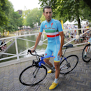 Italy's Vincenzo Nibali waits for the team presentation in Utrecht, Netherlands, Thursday, July 2, 2015, two days ahead of the start of the Tour de France cycling race. (AP Photo/Christophe Ena)