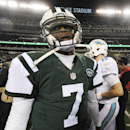 New York Jets quarterback Geno Smith (7) turns to leave the field after talking with Miami Dolphins quarterback Ryan Tannehill (17) after an NFL football game, Monday, Dec. 1, 2014, in East Rutherford, N.J. The Dolphins won 16-13 The Associated Press