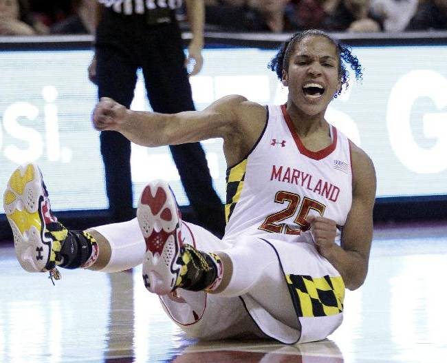 In this Jan. 27, 2014 file photo, Maryland forward Alyssa Thomas reacts after being fouled while shooting against Notre Dame in the second half of an NCAA college basketball game in College Park, Md. Now a senior, Thomas is poised to become the school's leading scorer and rebounder, and Sunday her No. 25 will be raised to the rafters of Maryland's home court