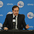 PHILADELPHIA, PA - JUNE 27: Sam Hinkie, President of Basketball Operations and General Manager of the Philadelphia 76ers, speaks with the media during a press conference on June 27, 2014 at the Philadelphia College of Osteopathic Medicine in Philadelphia, Pennsylvania. (Photo by Jesse D. Garrabrant/NBAE via Getty Images)