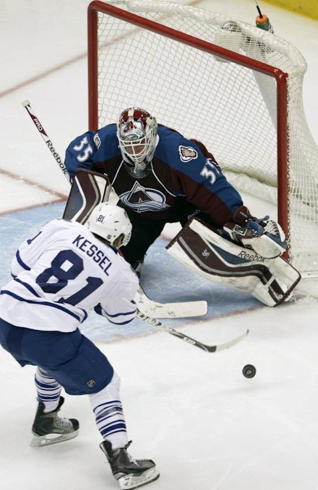 Toronto Maple Leafs right wing Phil Kessel (81) shoots at Colorado Avalanche goalie Jean-Sebastien Giguere (35) during the third period of an NHL game in Denver on Tuesday, Jan. 21, 2014. Toronto won 5-2