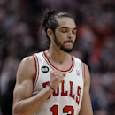 Chicago Bulls' Joakim Noah pumps his fist after defeating the Miami Heat in overtime 95-88 during an NBA basketball game in Chicago, Sunday, March 9, 2014 The Associated Press