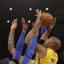 Indiana Pacers David West is guarded by New York Knicks Carmelo Anthony in the first quarter of Game 1 of their second-round NBA basketball series at Madison Square Garden in New York, Sunday, May 5, 2013. (AP Photo/Kathy Willens)