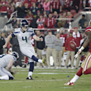 Seattle Seahawks kicker Steven Hauschka (4) kicks a 36-yard field goal from the hold of Jon Ryan against the San Francisco 49ers during the second quarter of an NFL football game in Santa Clara, Calif., Thursday, Nov. 27, 2014. The Seahawks won 19-3 The A