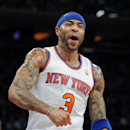 New York Knicks' Kenyon Martin reacts during the second quarter of an NBA basketball game against the Orlando Magic Friday, Dec. 6, 2013, at Madison Square Garden in New York. The Knicks won 121-83 The Associated Press