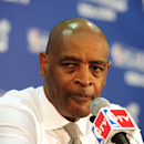 ATLANTA, GA - MAY 3: Head Coach Larry Drew of the Atlanta Hawks speaks with the media after the game against the Indiana Pacers after Game Six of the Eastern Conference Quarterfinals in the 2013 NBA Playoffs on May 3, 2013 at Philips Arena in Atlanta, Georgia.  (Photo by Scott Cunningham/NBAE via Getty Images)